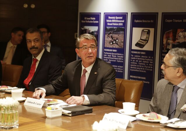 US Defense Secretary Ash Carter, center, speaks at Innovation Roundtable organized by Federation of Indian Chambers of Commerce and Industry, in New Delhi, India, Tuesday, April 12, 2016.