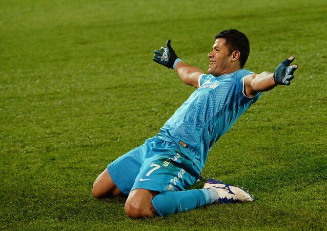 Zenit's player celebrates a goal.