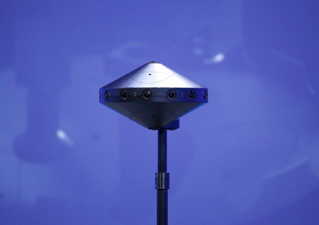 A Facebook Surround 360 virtual reality camera is seen on stage during the Facebook F8 conference in San Francisco, California April 12, 2016.