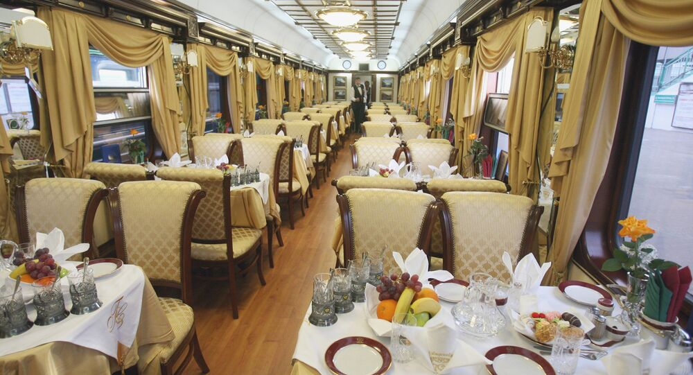A Golden Eagle Luxury train's restaurant