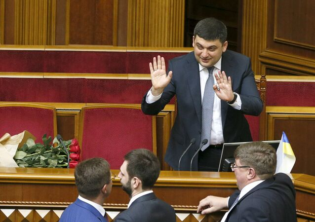 Newly-appointed Ukrainian Prime Minister Volodymyr Groysman greets deputies at the parliament in Kiev, Ukraine, April 14, 2016