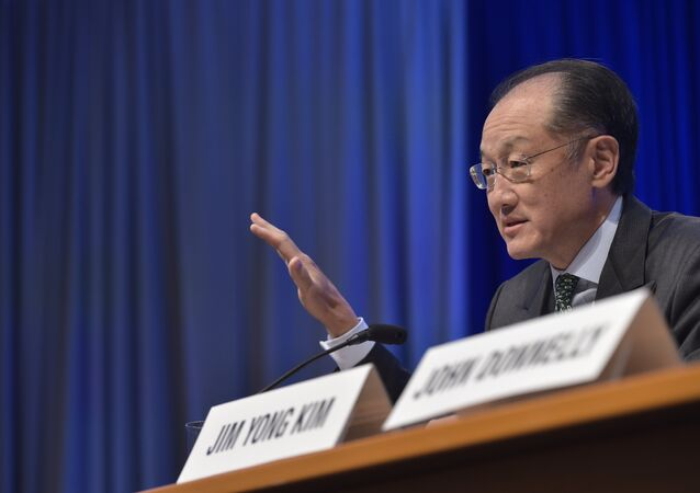 World Bank President Jim Yong Kim speaks at a press conference during the 2016 International Monetary Fund, World Bank Spring Meetings at IMF headquarters on April 14, 2016
