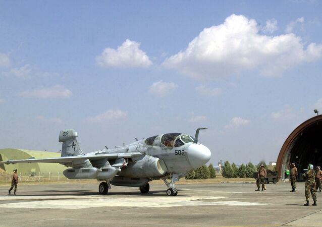 U.S. Air Force servicemen prepare an EA-6B prowler, a radar jamming plane, at the Incirlik air base in southern Turkey (File)