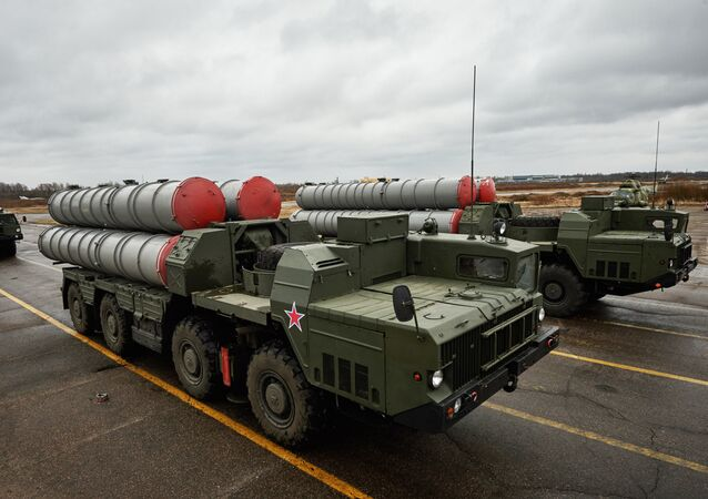 Russian S-300 anti-aircraft missile systems at a parade rehearsal outside St. Petersburg.