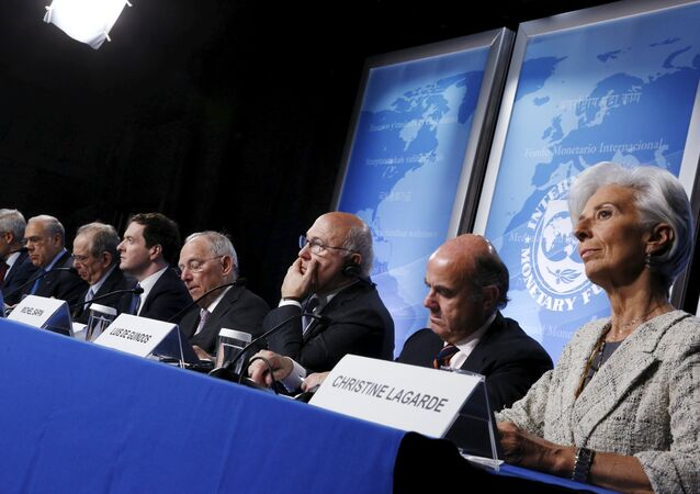 Gurria, Padoan, Osborne, Schaeuble, Sapin, Guindos and Lagarde hold a news conference at the IMF/World Bank Spring Meetings in Washington