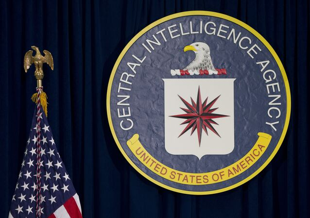 The CIA seal is seen displayed before President Barack Obama speaks at the CIA Headquarters in Langley, Va., Wednesday, April 13, 2016