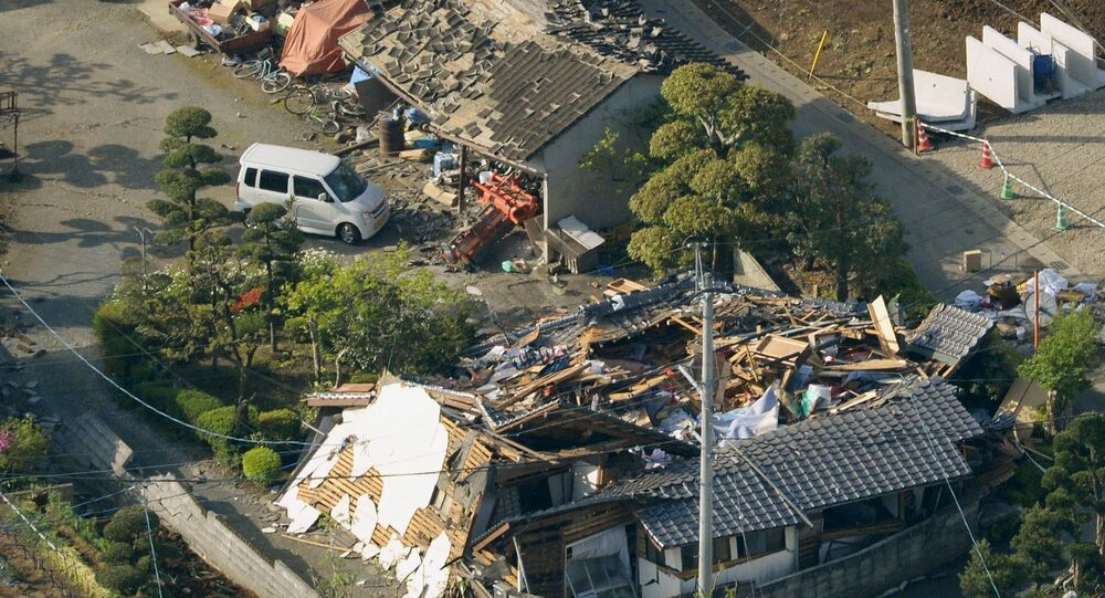 Collapsed houses caused by an earthquake are seen in Mashiki town, Kumamoto prefecture, southern Japan, in this photo taken by Kyodo April 15, 2016