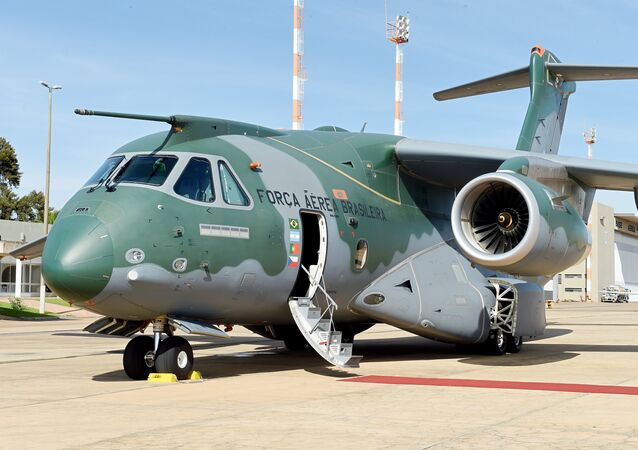 The new EMBRAER multi functional aircraft KC-390 is displayed at Brasilia's Air Base on April 5, 2016