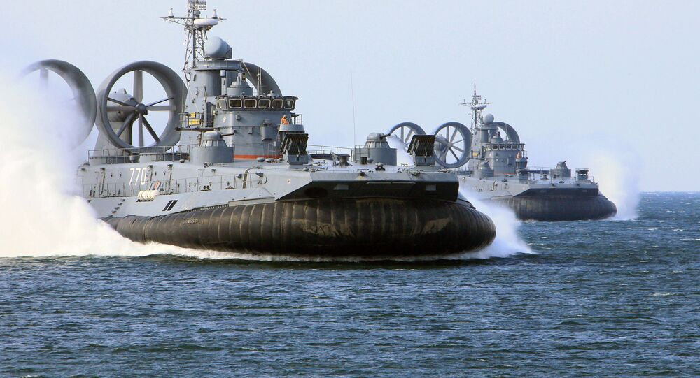 The air-cushion landing ships Mordovia, right, and Evgeny Kocheshkov, left,take part in the the Baltic Sea drills. file photo