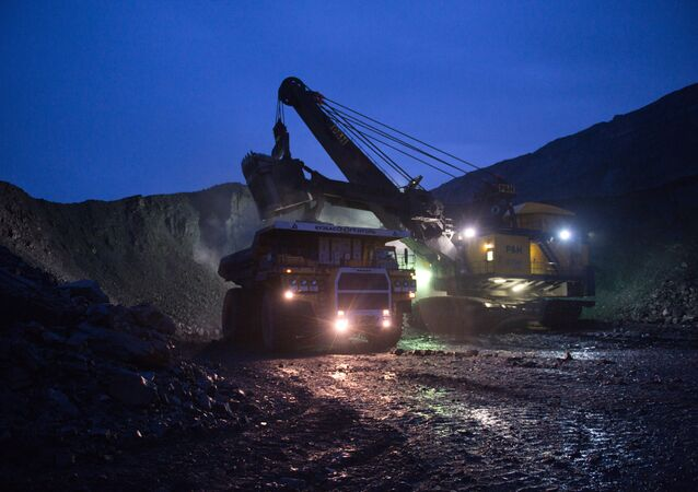 Mining coal at Bachatsky coal strip mine