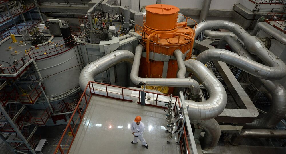 The central hall of the fourth generating unit with a BN-800 nuclear reactor at the Beloyarskaya Nuclear Power Plant in Zarechny, Sverdlovsk Region