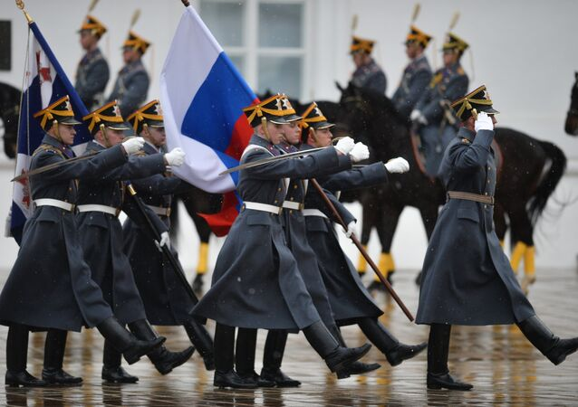 Changing of the Guard Parade in the Kremlin, Saturday April 16, 2016.