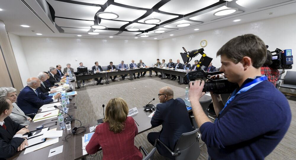 A file photo showing UN mediator on Syria Staffan de Mistura attends a meeting with the Syrian opposition High Negotiations Committee (HNC) during Syria peace talks at the United Nations in Geneva, Switzerland, April 15, 2016