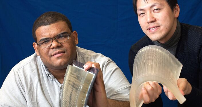 Daniel Sims and Yonghao Yue with flexible lens arrays