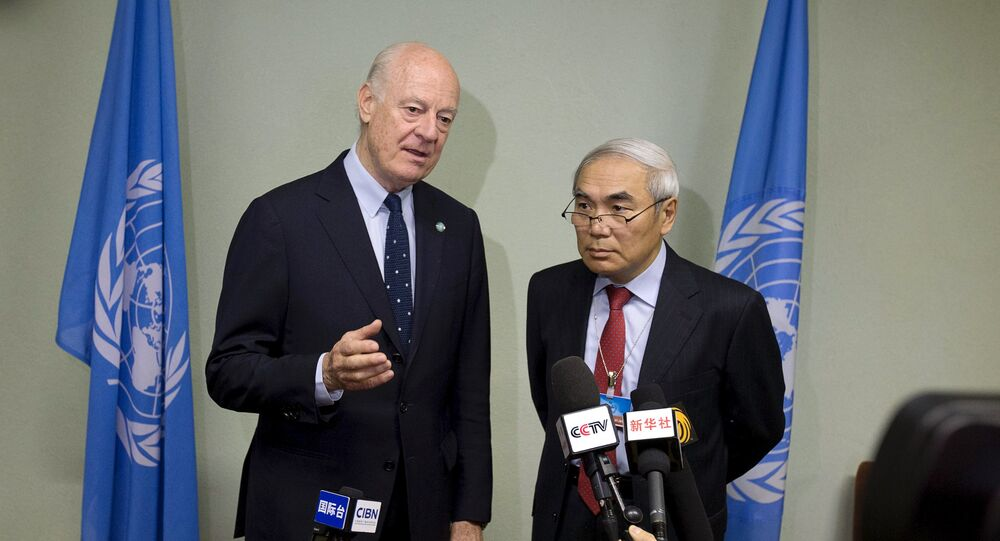 U.N. Special Envoy for Syria Staffan de Mistura (L) addresses the media with China's Special Envoy for Syria Xie Xiaoyan on the sidelines of Syrian peace talks at the United Nations in Geneva, Switzerland, April 18, 2016.