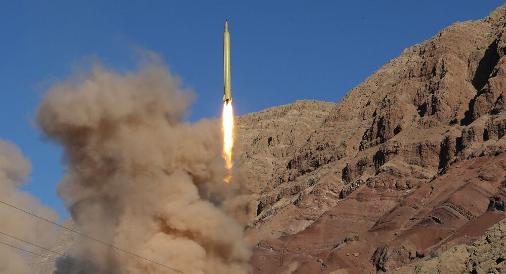 A long-range Qadr ballistic missile is launched in the Alborz mountain range in northern Iran on March 9, 2016. (File)