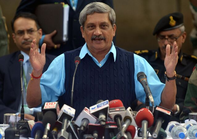 Indian Defence Minister Manohar Parrikar speaks to the media at the air force base in Pathankot on January 5, 2016.