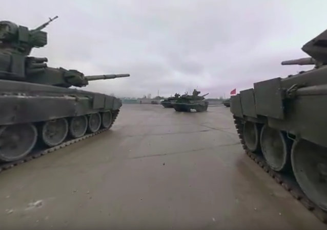 Russian T-90 tank ride in 360°: Rehearsal for Moscow's V-Day parade