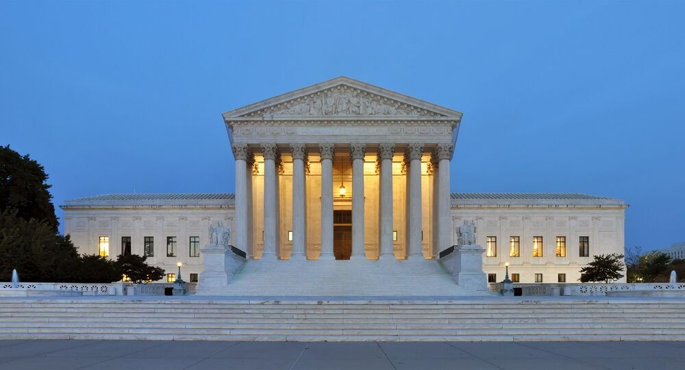 Panorama of the west facade of United States Supreme Court Building in Washington