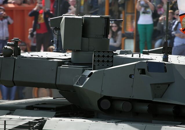 Close-up of the turret with its sensor and machine gun platform