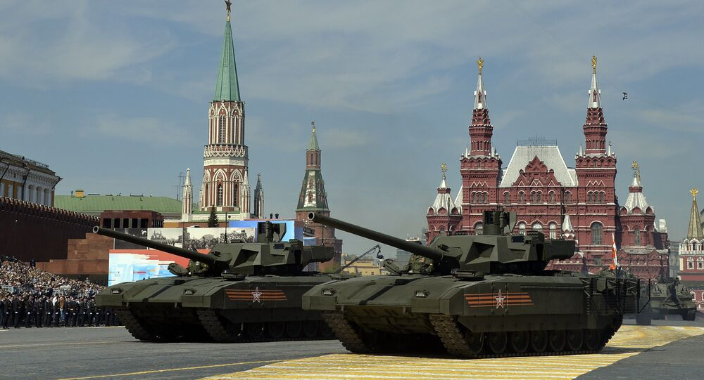 Russian T-14 Armata tanks drive during the Victory Day military parade at Red Square in Moscow on May 9, 2015.