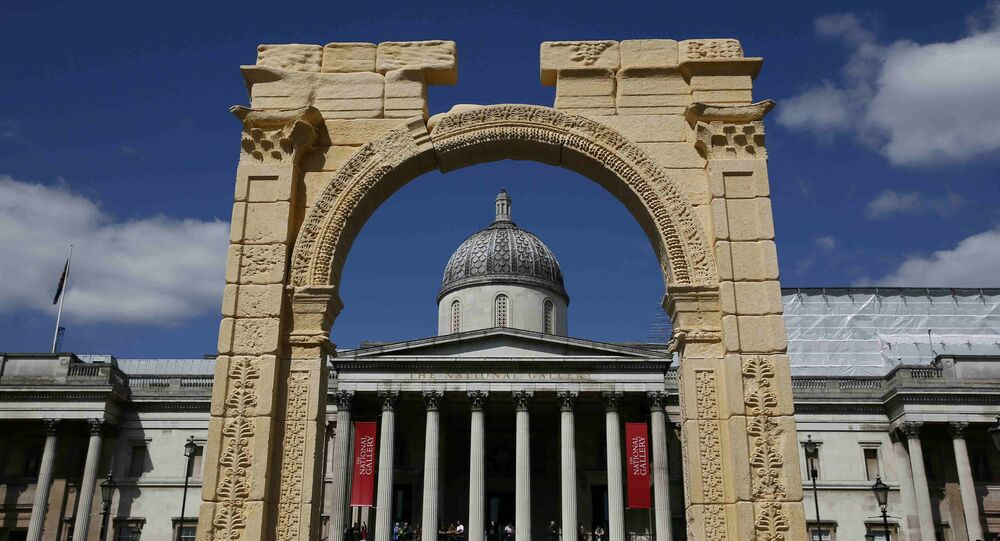 A recreation of the 1,800-year-old Arch of Triumph in Palmyra, Syria, is seen at Trafalgar Square in London.