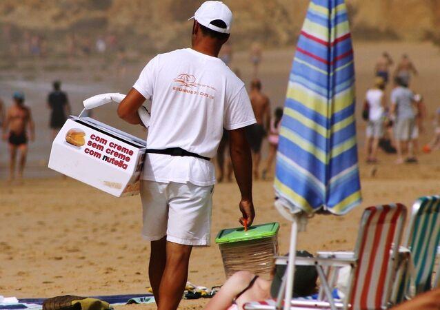 Seller on the beach