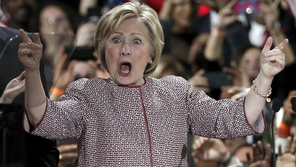 US Democratic presidential candidate Hillary Clinton reacts to the cheers of the crowd at her New York presidential primary night rally in the Manhattan borough of New York City, US, April 19, 2016. - Sputnik International
