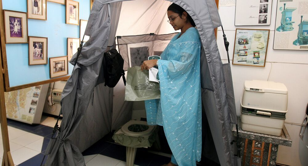 Portable toilet for travellers is displayed at the Sulabh International Toilet Museum in New Delhi