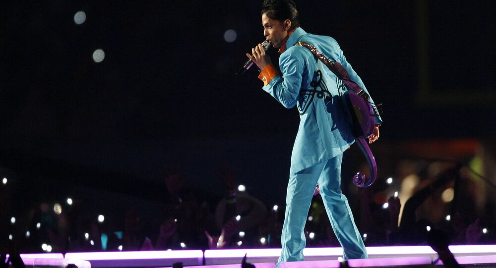 Prince performs during the halftime show at Super Bowl XLI football game at Dolphin Stadium in Miami on Sunday, Feb. 4, 2007.