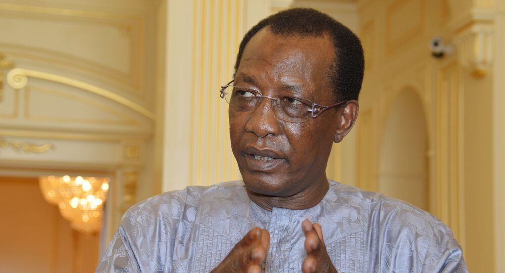 Chadian President Idriss Deby answers questions from journalists at the presidential palace in N'Djamena, Chad, 20 April 2016.