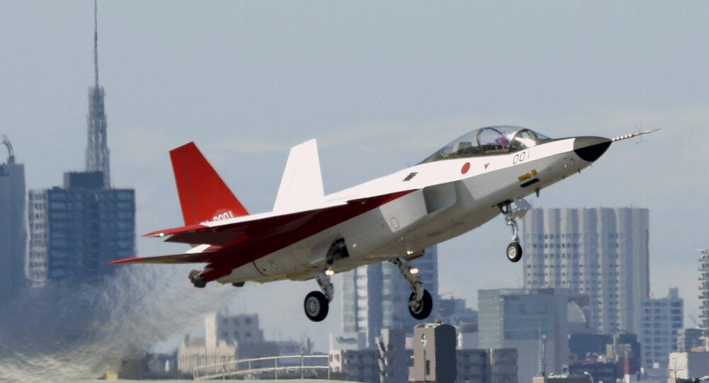 A prototype of the first Japan-made stealth fighter X-2 Shinshin, formerly called ATD-X, takes off to mark its maiden flight at Nagoya Airfield, also known as Komaki Airport, in Toyoyama town, Aichi prefecture, central Japan, in this photo taken by Kyodo April 22, 2016.
