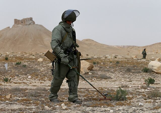 Russian army sappers work at the historic part of Palmyra, Syria, in this photo released by Russian Ministry of Defence on April 9, 2016