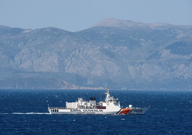 (File) A Turkish coast guard ship patrols in the Aegean Sea, off the Turkish coast, April 20, 2016.