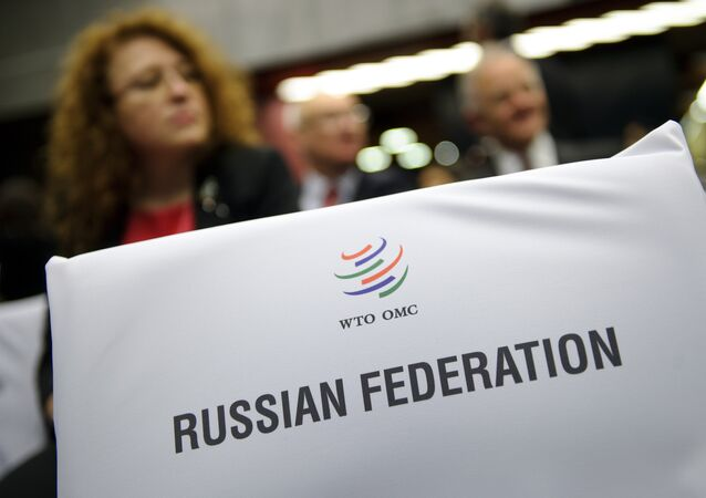 A label indicating the seats for the Russian delegation is seen prior to the start of a World Trade Organization ministerial meeting that gave its second and final approval for Russia's membership in the trade body after a record 18-year quest to join, on December 16, 2011 in Geneva