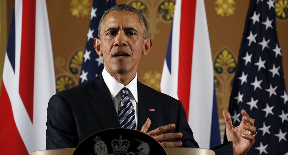 U.S. President Barack Obama speaks during a news conference British Prime Minister David Cameron following their meeting at 10 Downing Street in London, Britain April 22, 2016