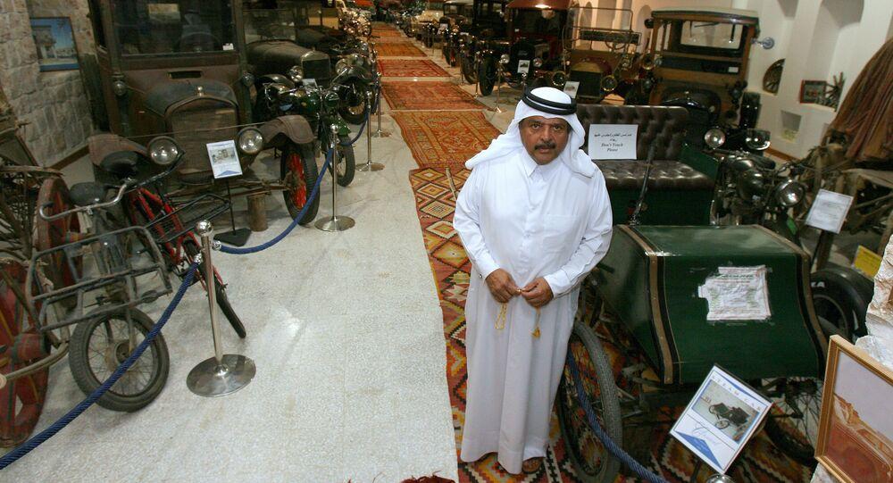 Qatari Sheikh Faisal bin Qassim al-Thani stands in his private museum in Doha. file photo