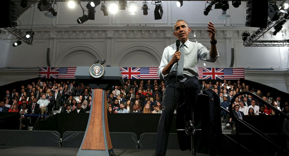 U.S. President Barack Obama speaks during a town hall at the Royal Agricultural Halls in London, Britain April 23, 2016