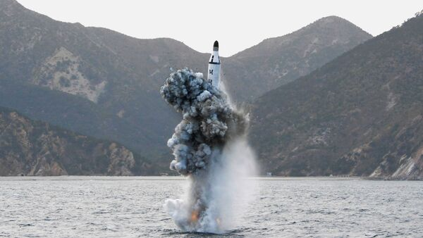 North Korean leader Kim Jong Un guides on the spot the underwater test-fire of strategic submarine ballistic missile in this undated photo released by North Korea's Korean Central News Agency (KCNA) in Pyongyang on April 24, 2016 - Sputnik International