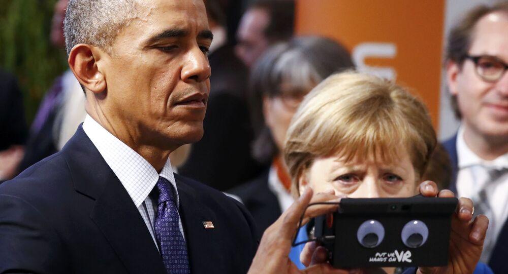 German Chancellor Angela Merkel and President Barack Obama, Hanover, Germany April 25, 2016.