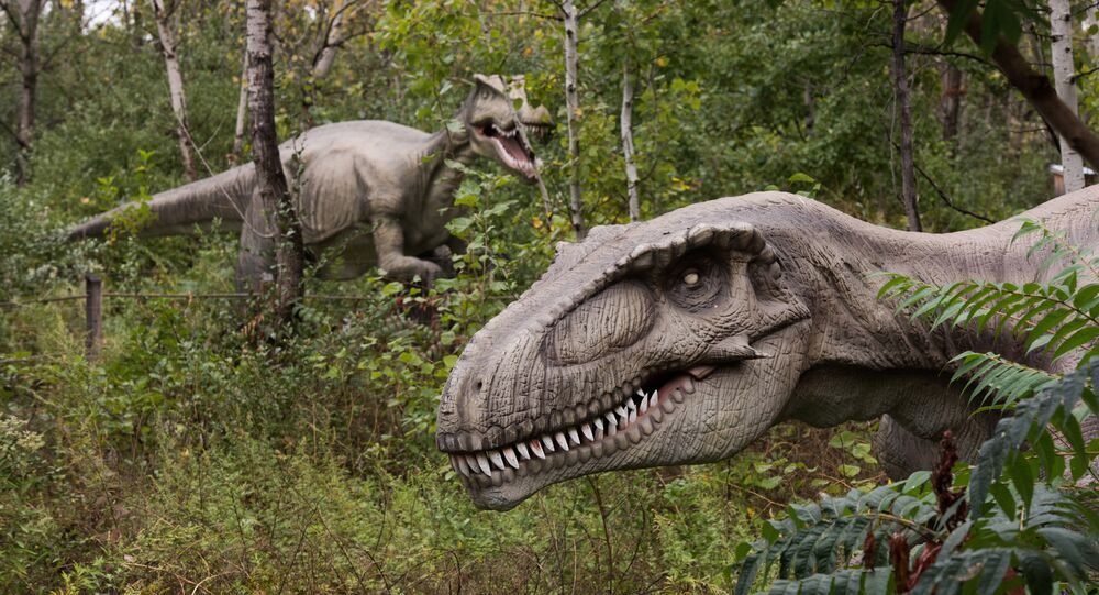 Life-sized animatronic dinosaurs are seen at Field Station: Dinosaurs, a 20-acre outdoor Jurassic learning expedition and family tourist attraction in Secaucus, N.J. on Thursday, Sept. 25, 2014