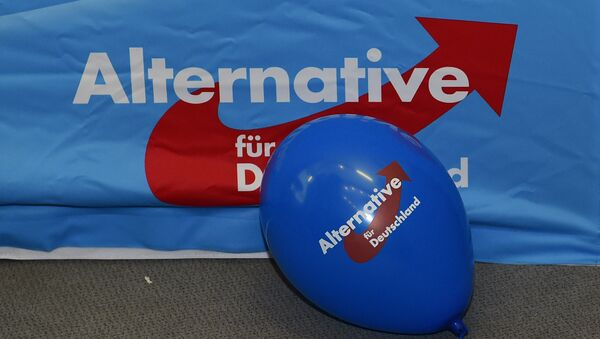A balloon of the right-wing populist party Alternative for Germany (AfD) party can be seen during an election party in Berlin on March 13, 2016. - Sputnik International