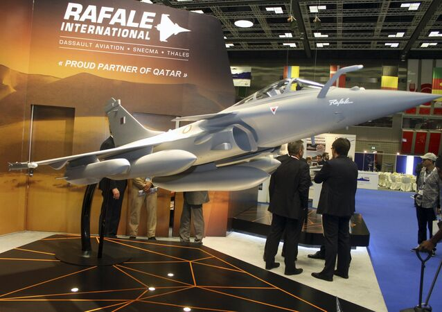 A model of Dassault Rafale fighter jet is seen during Doha International Maritime Defence Exhibition, Qatar March 31, 2016.