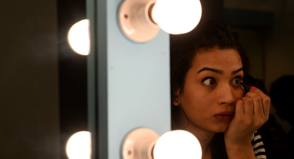 An Indian transgender model gets ready for an audition in New Delhi. (File)