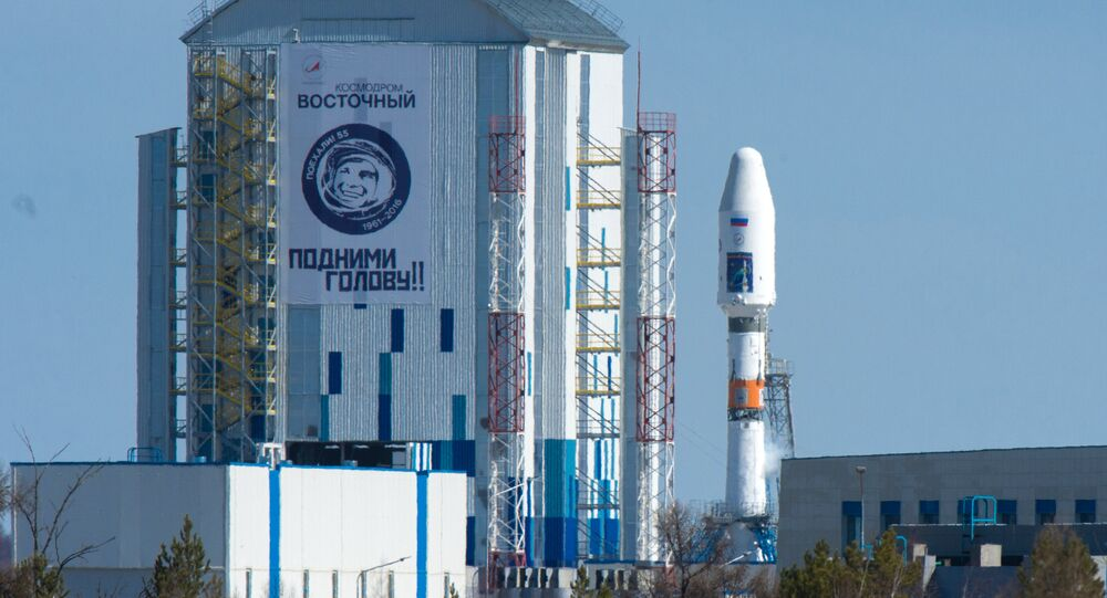 A Souyuz 2.1a space carrier with Russian satellites Lomonosov, Aist-2D and a SamSat-216 nano satellite sits on the launch pad at Vostochny cosmodrome.