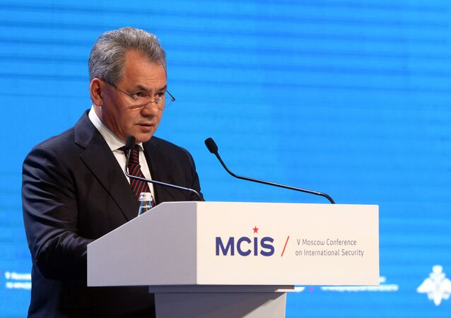 Russian Defense Minister Sergey Shoigu speaks at the 5th International Security Conference, Moscow.