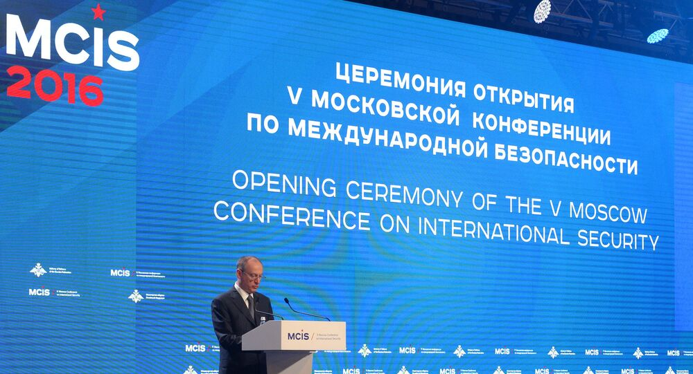 Russian Security Council Chairman Nikolai Patrushev speaks at the 5th International Security Conference, Moscow.