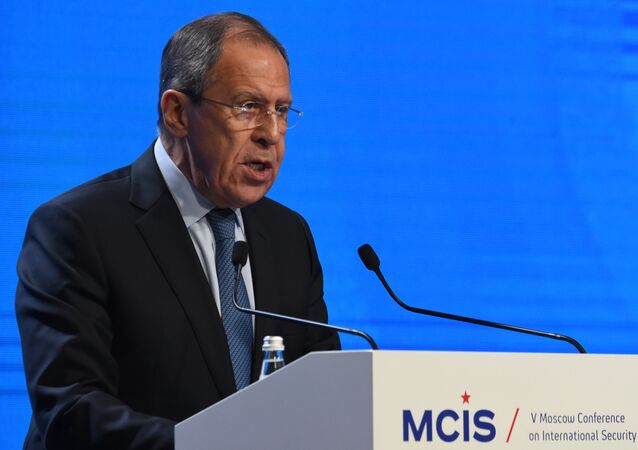 Russian Foreign Minister Sergei Lavrov gives a speech at the 5th Moscow Conference on International Security (MCIS) in Moscow on April 27, 2016.