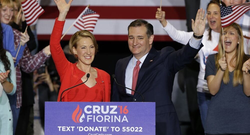 Republican presidential candidate Sen. Ted Cruz joined by former Hewlett-Packard CEO Carly Fiorina during a rally in Indianapolis.