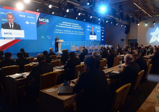 Russian Defense Minister Sergey Shoigu speaks at the 5th International Security Conference, Moscow